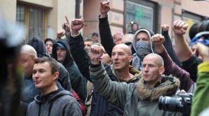 Group of neonacists in Duchcov